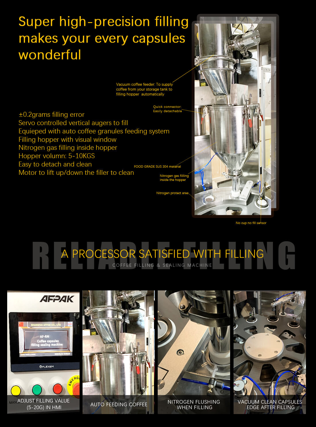 rotary coffee capsule filling packaging machine